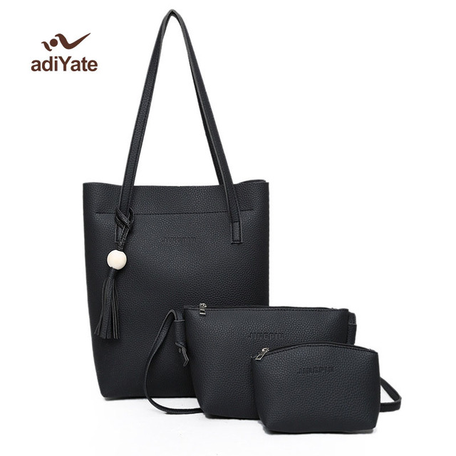 5c8ef32d74dd3 Women Fashion three Pieces Set Shoulder bag Fashion Women Handbag PU  Leather Women Bag Large Capacity Tote Bag New Clutch Cheap