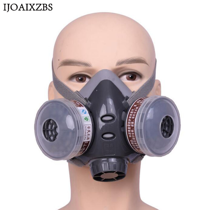 High Quality Dust Gas Mask Respirator Pesticide Filter Mask Anti-explosion Anti Shock Goggles 1PCS Gas Mask +Grey Goggles brand technology dust mask set mask goggles 1pcs filter cotton pm2 5 respirator dust mask welding polished n95 respirator mask