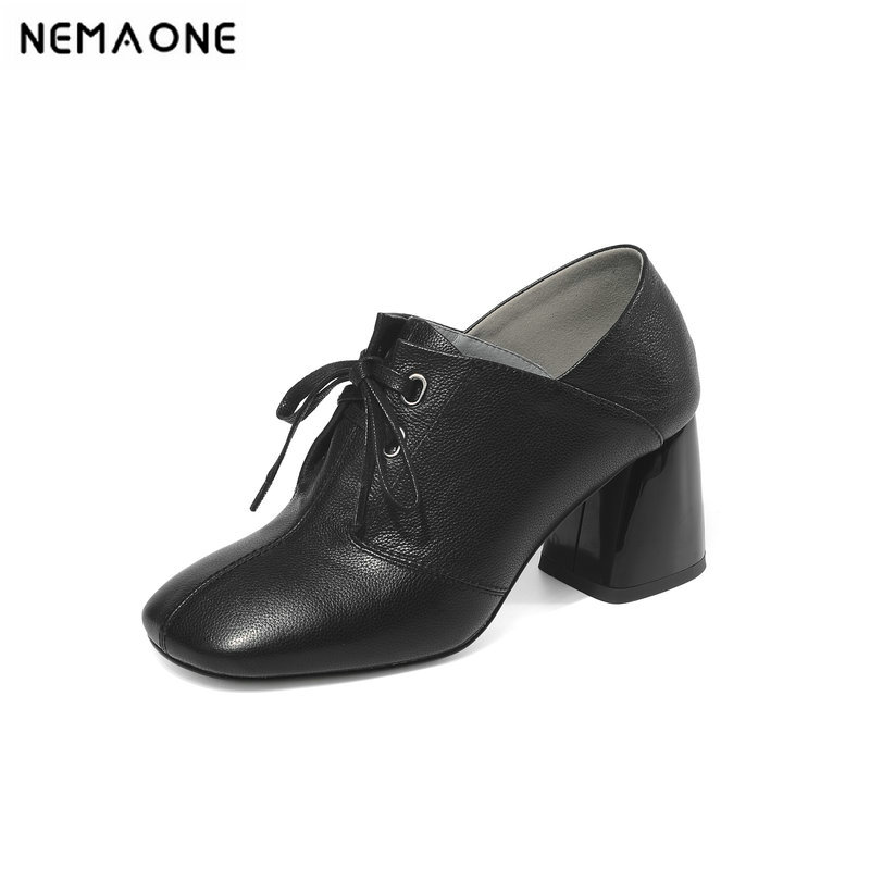 NEMAONE Genuine Leather Thick Heel Women pumps 2019 Solid Black Winter Ankle Boots Motorcycle Botas square Toe Warm Women ShoesNEMAONE Genuine Leather Thick Heel Women pumps 2019 Solid Black Winter Ankle Boots Motorcycle Botas square Toe Warm Women Shoes