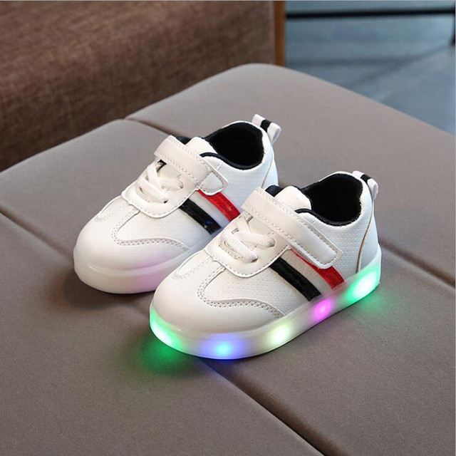 MUQGEW Toddler Kids Shoes Baby Girl Boys Striped Shoes LED Light Up Luminous Sneakers Children Girls All Season Casual Shoes