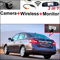 3 in1 Especial Cámara de Visión Trasera + Receptor Inalámbrico + Monitor del espejo DIY Sistema de Aparcamiento Para Nissan Sylphy Sentra Pulsar 2013 ~ 2015