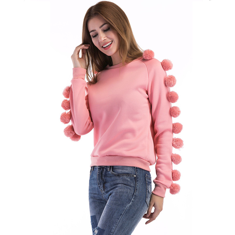 2017 high quality European and American foreign trade new fashion leisure ball ball circle neck and long sleeve garment hoodie
