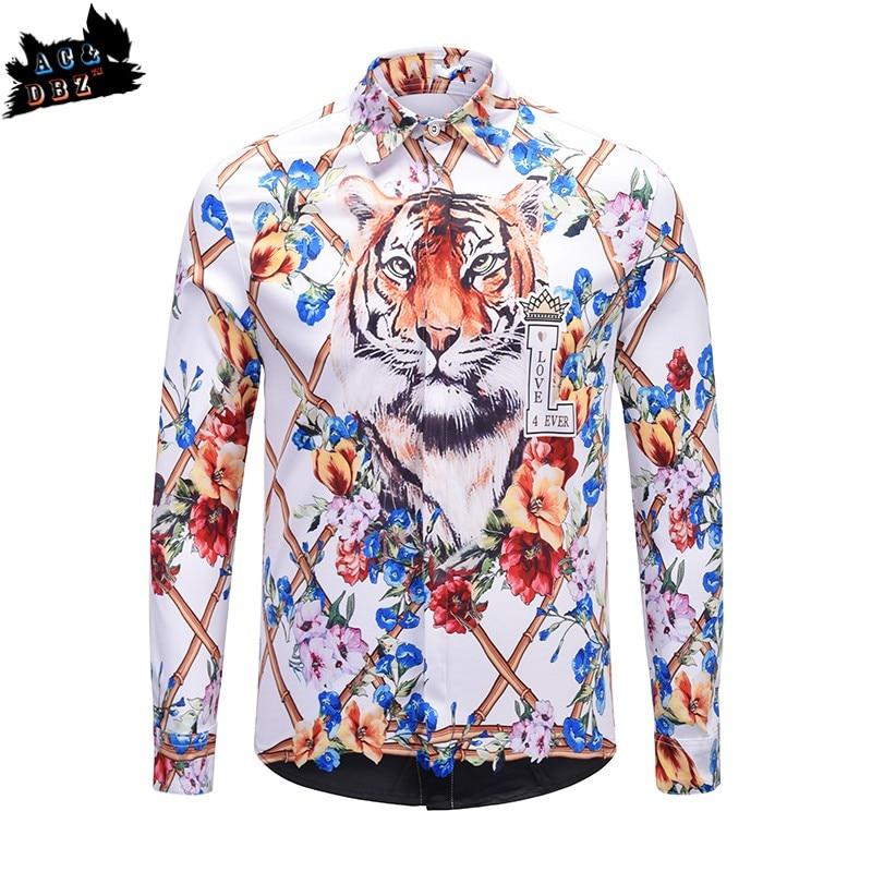 AC&DBZ catwalk men's slim shirt Palace wind tiger head print long-sleeved British wind shirt men's business fashion casual shirt