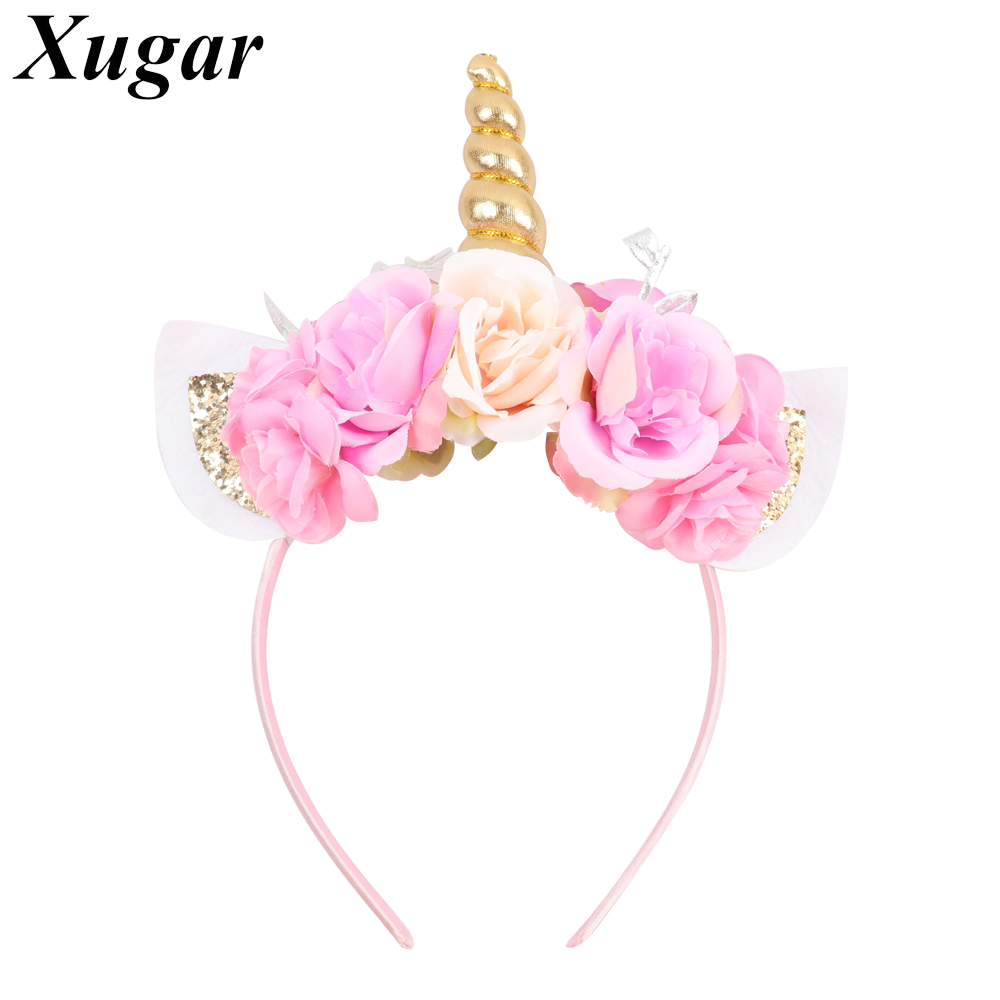 Kids' Headband with Flowers Organza Bridal Veil Glitter Ears Hairbands for Girls Trendy Hair Accessories