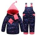 Fashion Baby Snow Wear White Duck Down Baby Snowsuit Raindrop Winter Overalls For boys Hooded jumpsuit Children Winter Unisex