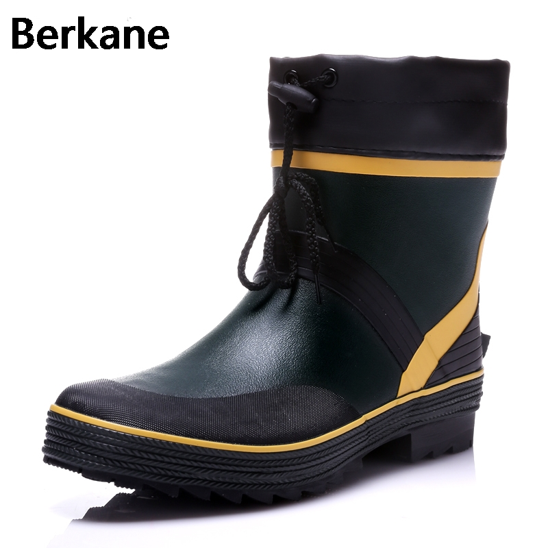 Drawstring Ankle Mens Rubber Rain Boots Men Water Shoes Pvc Waterproof Gummisitefel Rainboots Quality Anti slip