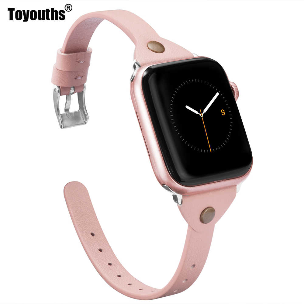 Toyouths Slim Leather For Apple Watch Band iWatch Womens Mens Sport Strap Thin Wristband Leisure Serise 1 2 3 4