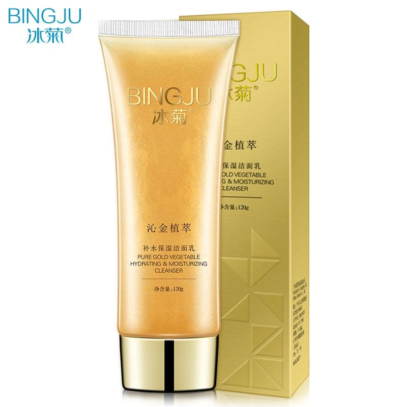 BINGJU Gold Facial Cleanser Organic Natural Gel Daily Face Wash Anti Aging Scrub Exfoliating Gel Deep Pore Cleansing Skin Care