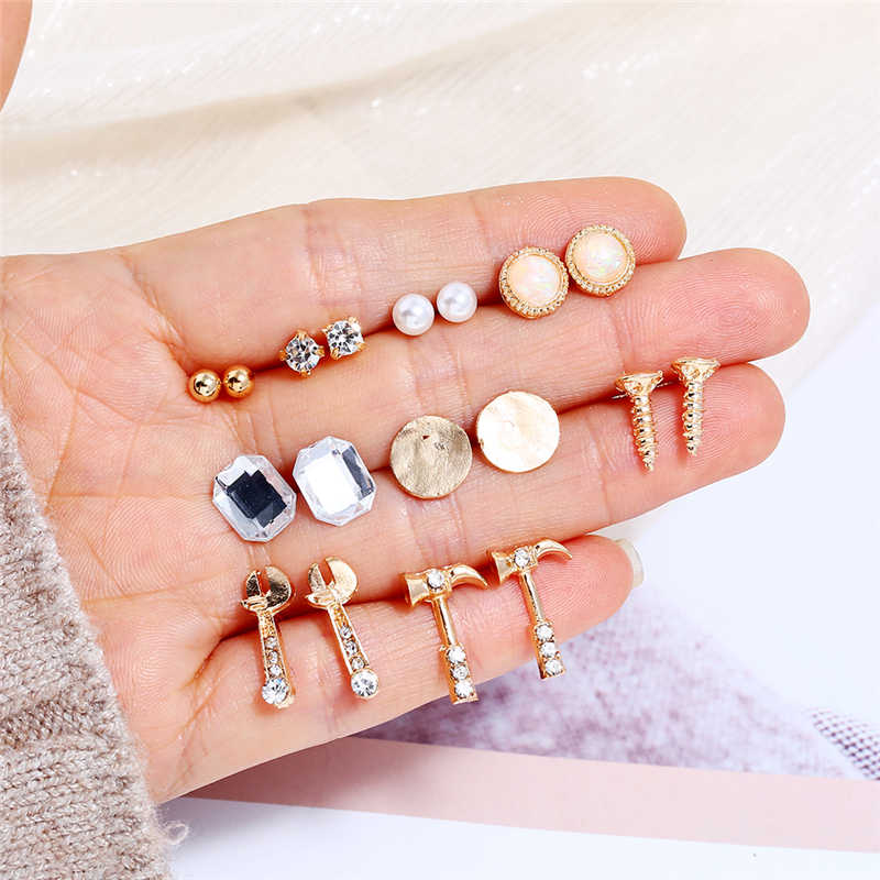 Bohopan Creative Design Women Fashion Earrings Set Unique Screw Wrench Hammer Shape Stud Earrings Personality Earrings Jewelry in Stud Earrings from Jewelry Accessories