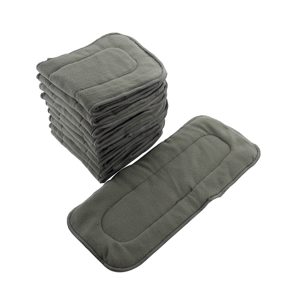 Baby Diapers Wholesale 30PCS Reusable Bamboo Charcoal Insert Double Gussets No Leaking Inserts Baby Cloth Diaper