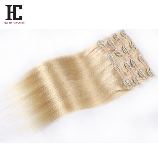 Nova chegada brasileiro virgem cabelo grau 7A 613 cabelo humano direto Remy clipe Ins 7 pçs/set grampo de cabelo virgem em transporte rápido HC
