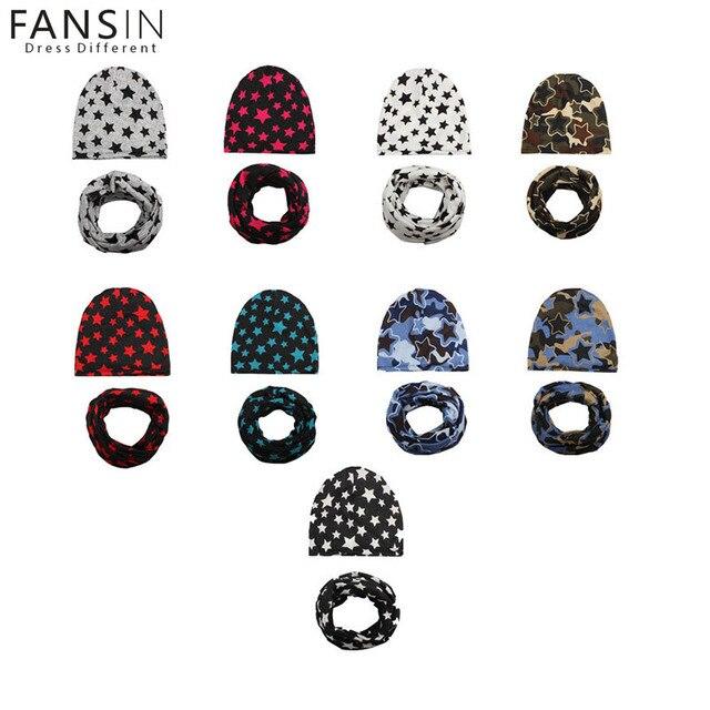 Fansin Brand Baby Boys Girls Hats Star Pattern Baby Hat +Scarf Cute Kids Cap Soft Warm Cotton Scarves Winter Children's Caps Set