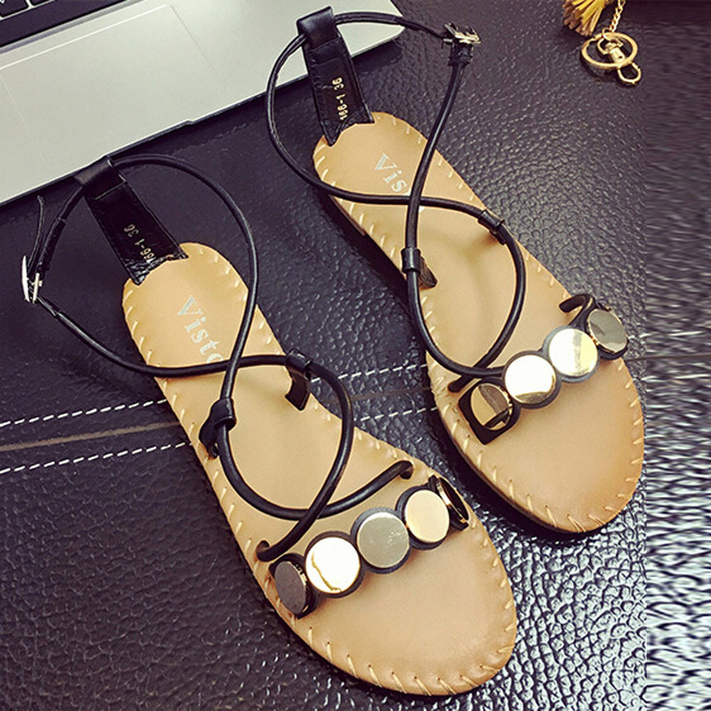 Hot Sale Summer Comfort Sandals Women Flip Flops Cross Straps Casual Roman Sandals Gladiator Flat Bottom Buckle Shoes Open Toe 2017 new arrival hot sale fashion summer sweet women flats heel sandals casual buckle strap roman sandals flat flat women shoes