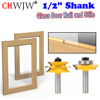 цена на 1/2 Shank Ogee 2 pcs Glass Door Rail and Stile Router Bit Set C3 Carbide Tipped Wood Cutting Tool woodworking router bits