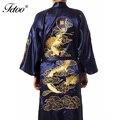 Мужской Шелковый Халат Вышивка Китайский Cheongsam Длинный Халат Мужские Кимоно Халаты V-образным Вырезом Ремень Халат Ночное Пятен Ночная Рубашка Платье