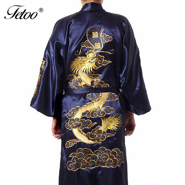 Mens Silk Bathrobe Embroidery Chinese Cheongsam Long Robe Mens Kimono Robes V-Neck Belt Bathrobe Nightwear Stain Nightgown Dress