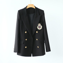 High-end European and American Street Trendy Womens Wear Long Sleeve Slim Handmade Badge Small Suit 2019 Black
