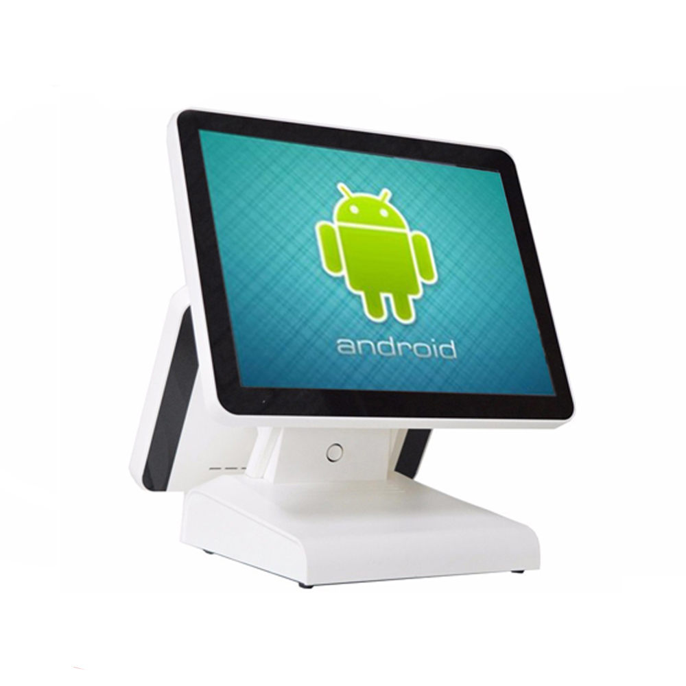 15Inch Android All In One POS System Dual Screen Touch Cash Register And 80mm Thermal Printer And 410mm POS Cash Drawer pos all in one nice quality hot sales 12 inch touch cash register pos machine 58mm receipt printer cash drawer barcode scanner