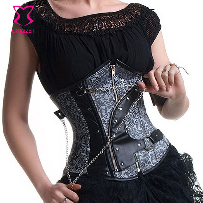 Silver Dobby&Black Leather Sexy Korsett For Women Gothic Corset Underbust Steel Boned Corsets Tight Lacing Zipper Waist Trainer
