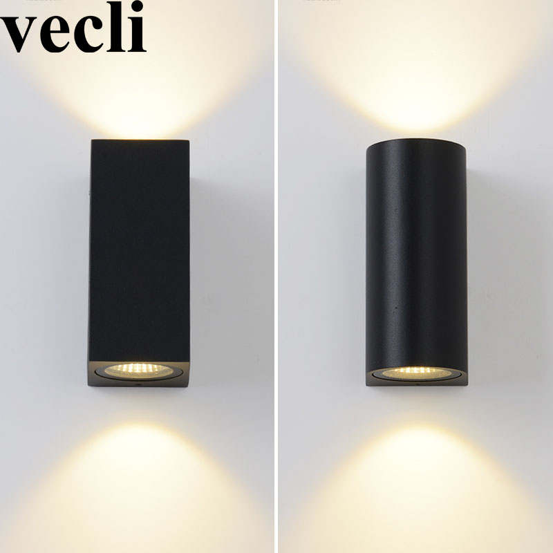 Modern up and down wall light fixture cube cylinder porch ...