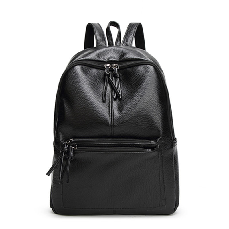 Woman Washable Leather Backpack New Style Leisure Travel Zipper Backpack Black PU soft Bag