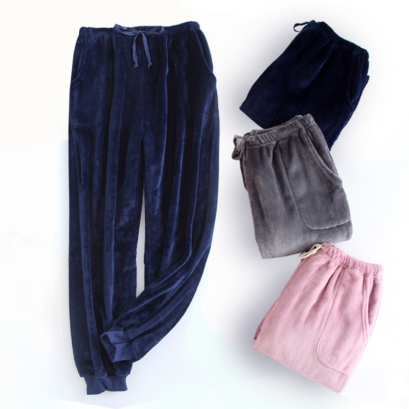 Winter Women Solid Sleep Bottoms Female Casual Loose Plus Size Nighty Trousers Sleepwear Pyjama Warm Flennel Pajama Pants