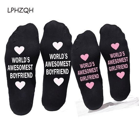 Unisex Men Women Cotton Socks Print Letter Funny Socks For Boyfriend/Girlfriend Valentines Day Gift B-0801