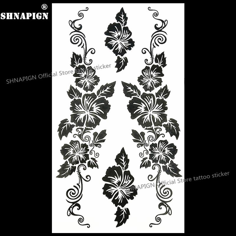 Áƒ¦ Áƒ¦shnapign Black Vine Flower Temporary Tattoo Body Art Arm Flash Tattoo Stickers 17 10cm Waterproof Fake Henna Painless Sticker A304