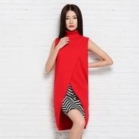 b48818e71b New Fashion Women Knitted Jacket Vest Cashmere Blend Sleeveless Long Vests  High Quality Turtleneck Vest Femme