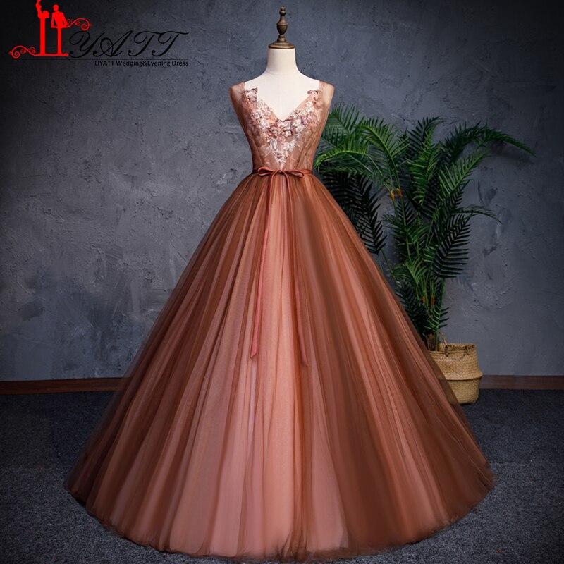 LIYATT 2019 nouveau arabe brun Tulle dos ouvert bouffi une ligne jupe V décolleté fleurs broderie détails formelle soirée robe de bal