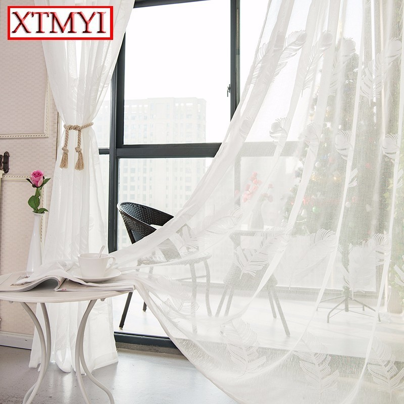 Pink/White/Blue Feather Embroidered Tulle Curtains for Living Room Girl Bedroom Window Curtains custom made drapes