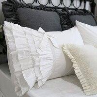 2pcs cake layers pillow case American lace ruffle pillow cover pillow case pillow sham sweet bowknot design pillowcase wedding