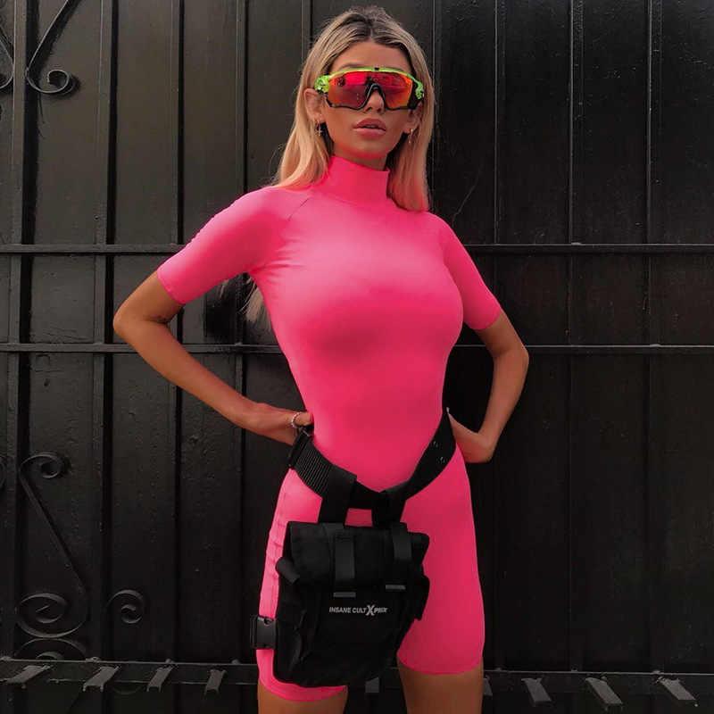 Криптографические неоновые розовые модные игровые водолазки женские сексуальные боди с коротким рукавом повседневные Комбинезоны тонкие 2019 Фитнес Бодибилдинг