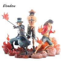 Elsadou 3 шт./компл. Аниме One Piece dxf Луффи Ace Сабо ПВХ фигурку Коллекционная модель игрушки