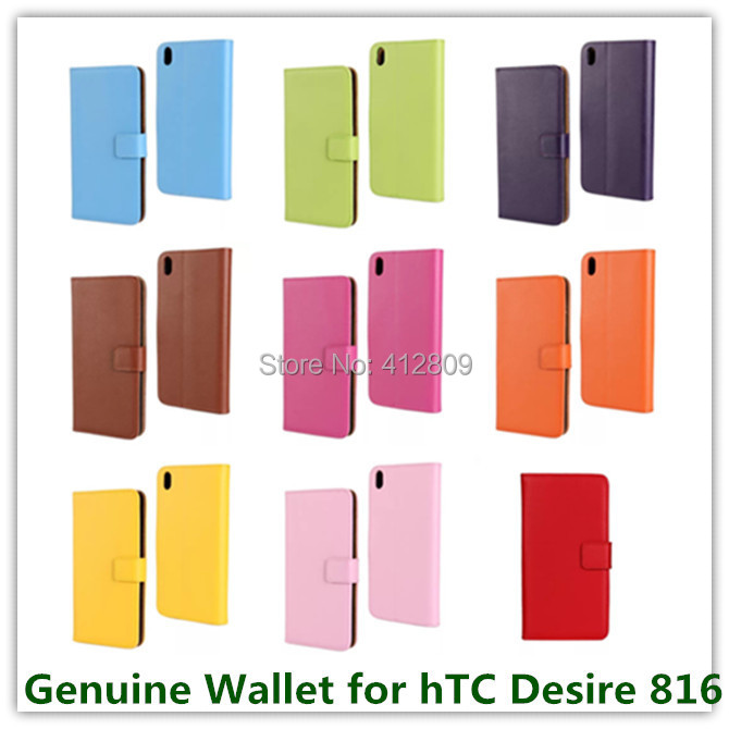 11 Colors High Genuine Leather Stand Wallet Cover Case for hTC Desire 816 D816W with Stand Credit Card Holder Cellphone Bag Free