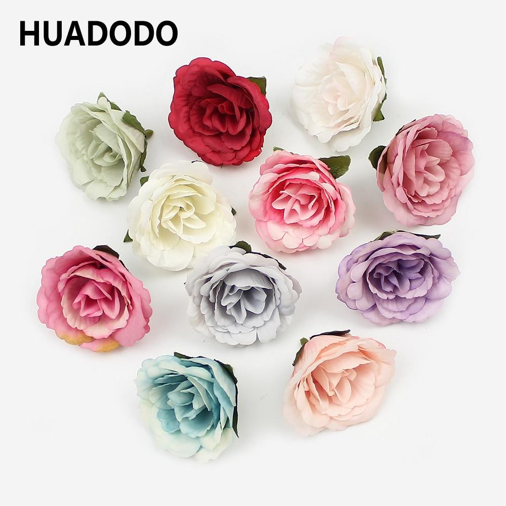4cm 10PCS Decor Bouquet Rose Flower Head Silk Artificial Flowers Tea Bud