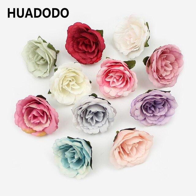 HUADODO 10 Pcs 4 cm Subiu Cabeças de Flor de Seda Flor Artificial flores Falsas para Casa DIY Grinalda guirlanda Floral Do Casamento decoração