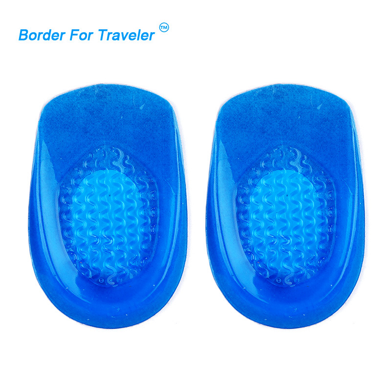 Free Shipping Silicone Gel Heel Pad Cushion Cups Support Shock Absorption Insoles Spur Pain Arthiritis  Massaging Insert