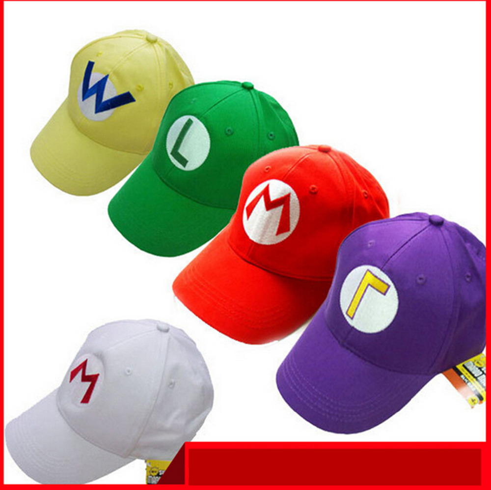 Hot New arrival fashion Anime 5 colors Luigi Super Mario Bros Cosplay Adult Hat adjustable Buckle octagonal cap