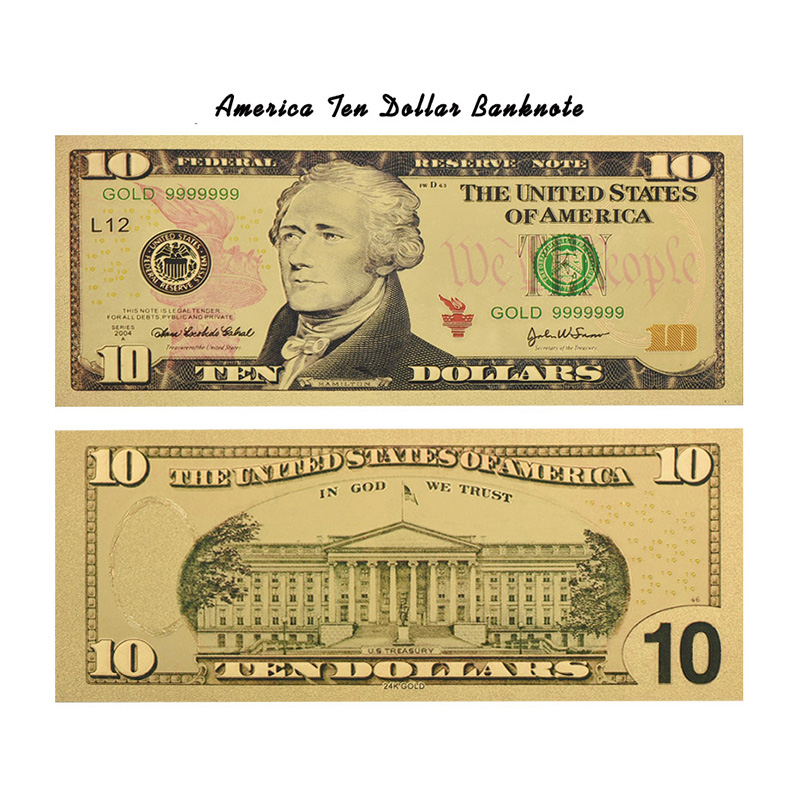 Colored Us Garden Aliexpress Copy Creative Money From Alibaba 10 Group com Gifts-in On Banknotes Paper Usa Festival American Home Gold Bills Decor Dollars amp; Fake Wr Plated Banknote