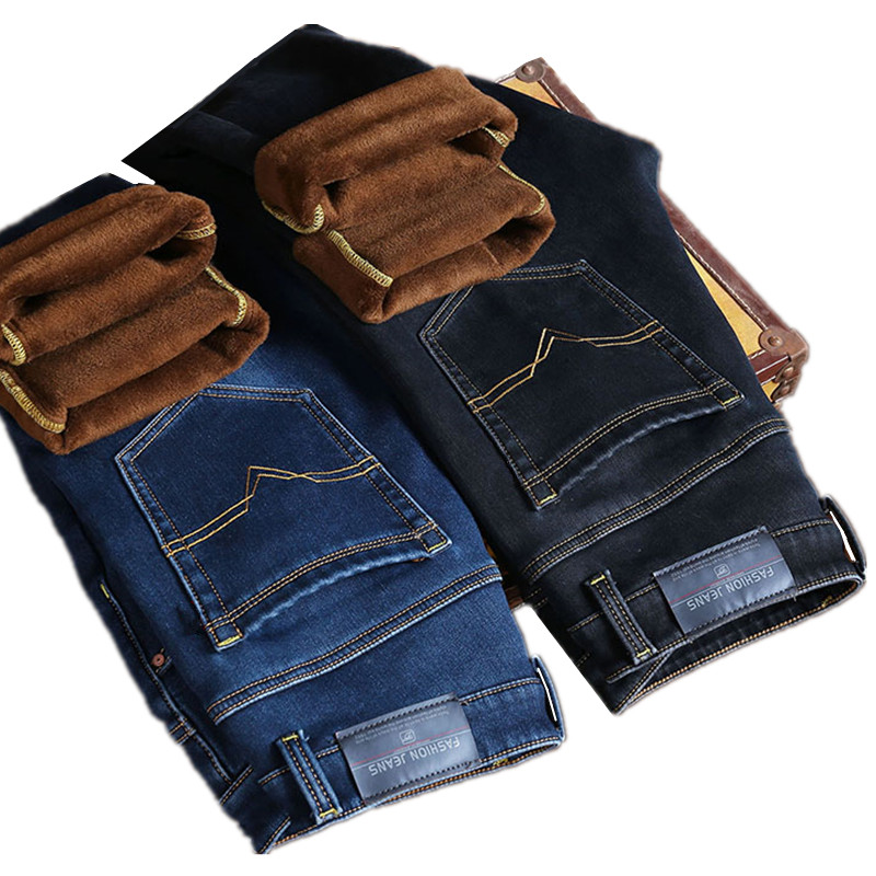 2018 Autumn and Winter Fashion New Men's Casual Boutique Thick Warm   Jeans   Men's Slim Wool Velvet Denim Trousers