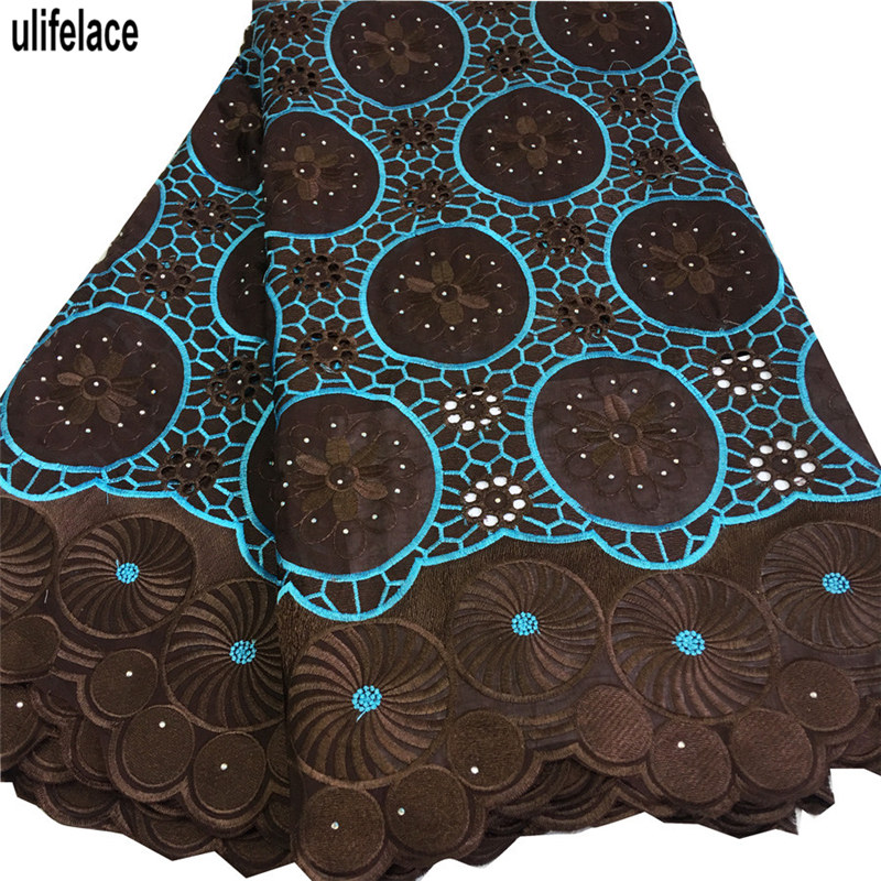 African Swiss Voile Lace In Switzerland 100% Cotton Lace Trim With Rhinestones Wholesale Eyelet Circle Big Voile Lace BG-102