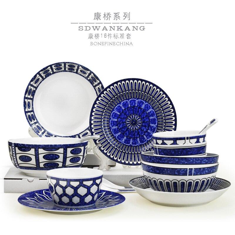 Plats en céramique plaques cuillères ensemble des ménages porcelaine ensemble de vaisselle 16 pcs brèves plats ensemble bols