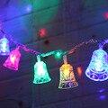 Рождественские огни наружные 10 м 100 светодиодов Jingle Bells сказочные струнные светильники 6 Вт AC220V колокольчики Рождественские елочные украшен...