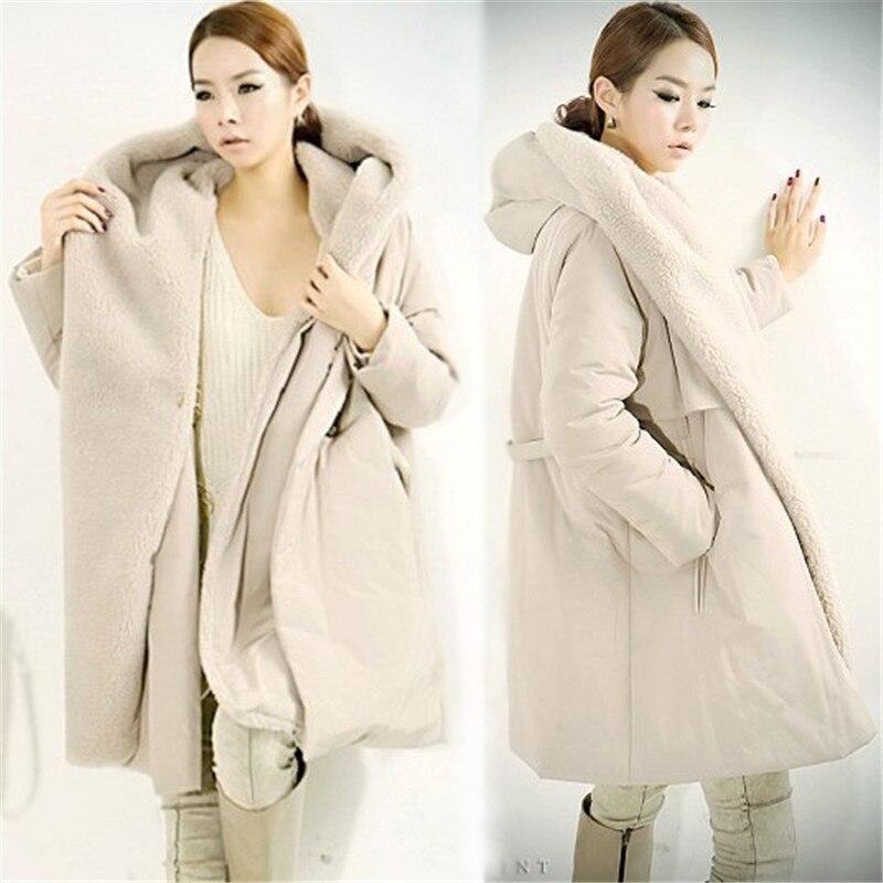 De Coréen Off D'agneau Vestes Taille Femmes Mode Capuche À White La K3920 Vêtements Imitation D'hiver Plus Femme black Veste Manteau Chaud Laine qHTEnwIxWA