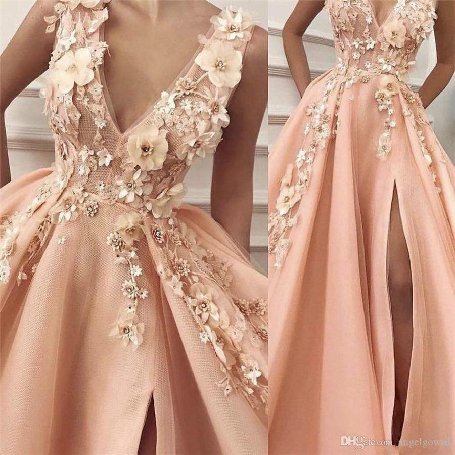 A-ligne col en V pêche robes de bal avec fente pêche 3D dentelle fleurs robe de soirée appliques élégantes robes formelles P