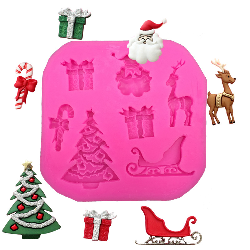 Hot Sale Christmas tree Santa Claus sled Reindeer fondant cake molds soap chocolate mould for the kitchen baking