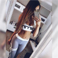 2016 new fashion high quality women casual letter print patchwork cropped tops tanks and pants two pieces sets suits