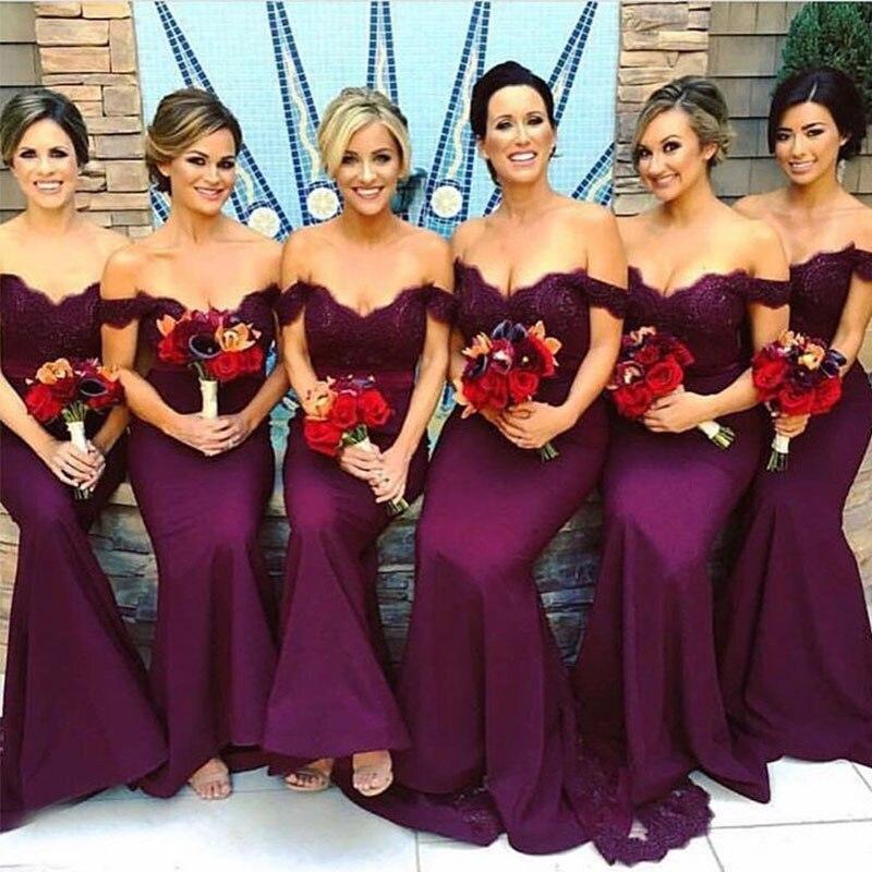 lamiabridal Mermaid Vestido De Festa Longo Off The Shoulder Dark Purple Bridesmaid Dresses Wedding Maid Of