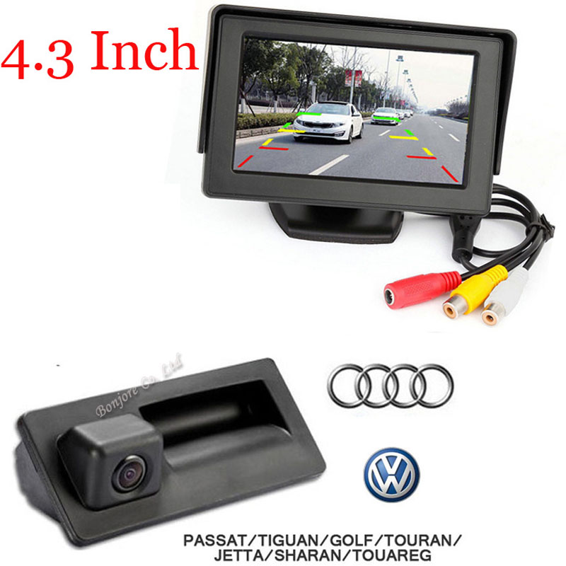 4.3 LCD Car mirror parking & CCD car Trunk handle camera for Audi/VW/Passat/Tiguan/Golf/Touran/Jetta/Sharan/Touareg/Volkswagen